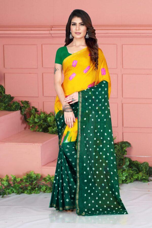 Good-Looking Party Wear Dark Green Color Designer Taffeta Silk Fancy Bandhej Hand Design Saree Blouse