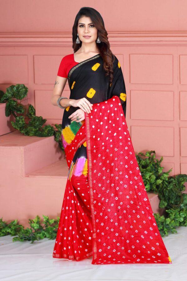 Comely Red Color Wear Taffeta Silk Designer Bandhej Hand Design Saree Blouse