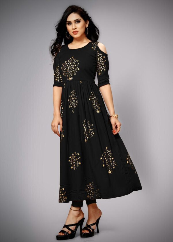Devastating Black Color Full Stitched Wear Cotton Rayon Fancy Foil Printed Gown