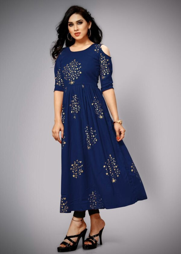 Wonderful Navy Blue Color Party Wear Rayon Cotton Foil Printed Designer Ready Made Gown