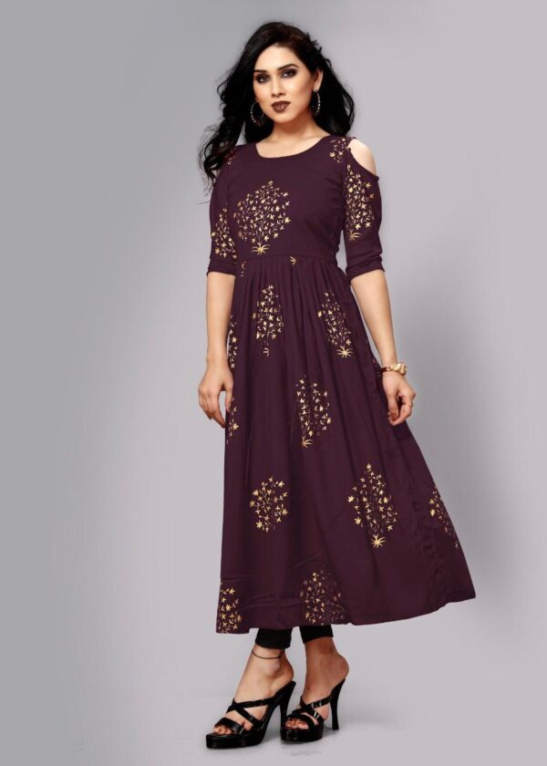 Bewitching Wine Color Designer Full Stitched Cotton Rayon Foil Printed Gown