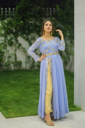 Alluring Light Purple Color Wear Full Stitched American Silk Embroidered Pent Kurti