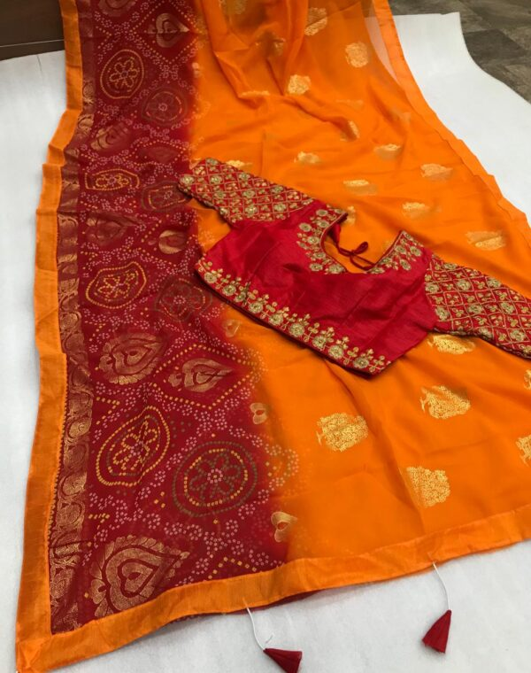 Gorgeous Orange Color Soft Georgette Bandhani Printed Foil Mill Work Ready Made Blouse Saree