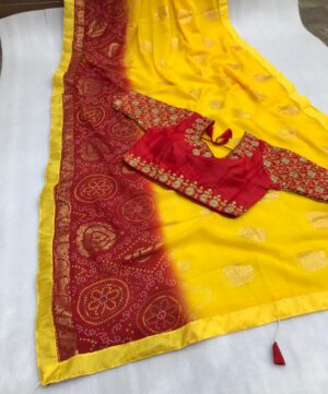 Amazeballs Yellow Color Party Wear Bandhani Foil Work Printed Soft Georgette Saree Full Stitched Blouse