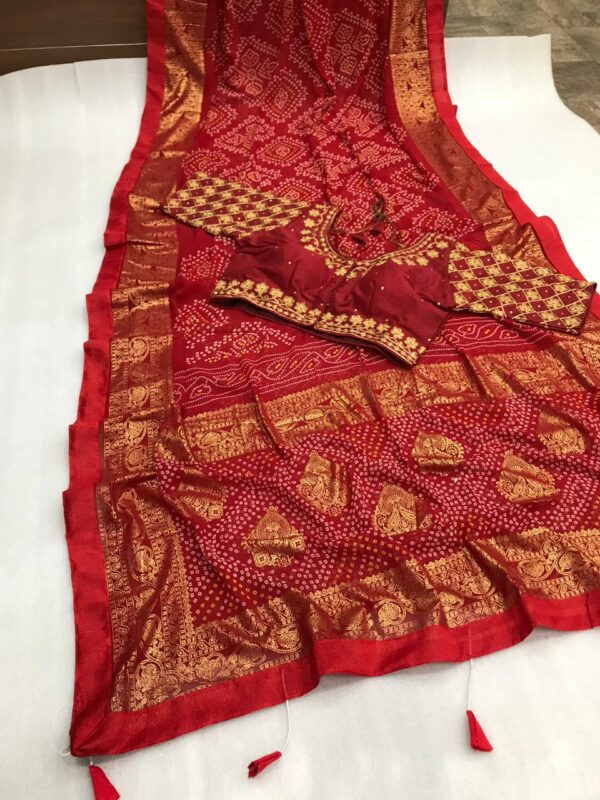 Knockout Maroon Color Function Wear Soft Georgette Bandhani Printed Fancy Foil Mill Work Saree Full Stitched Blouse