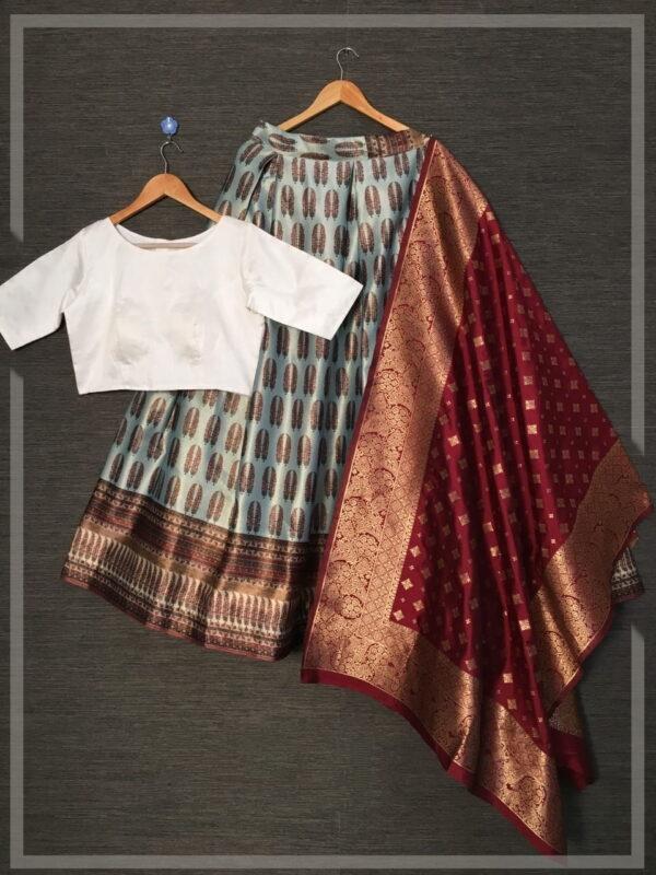 Smashing Grey Color Full Stitched Wedding Wear Zari Satin Silk Designer Printed Lehenga Choli