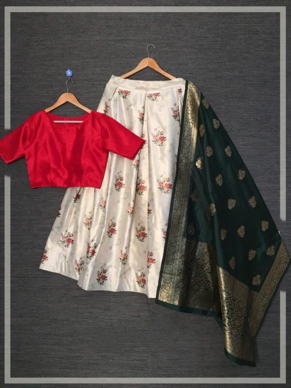 Fantastic Off White Color Function Wear Zari Satin Silk Designer Printed Full Stitched Lehenga Choli