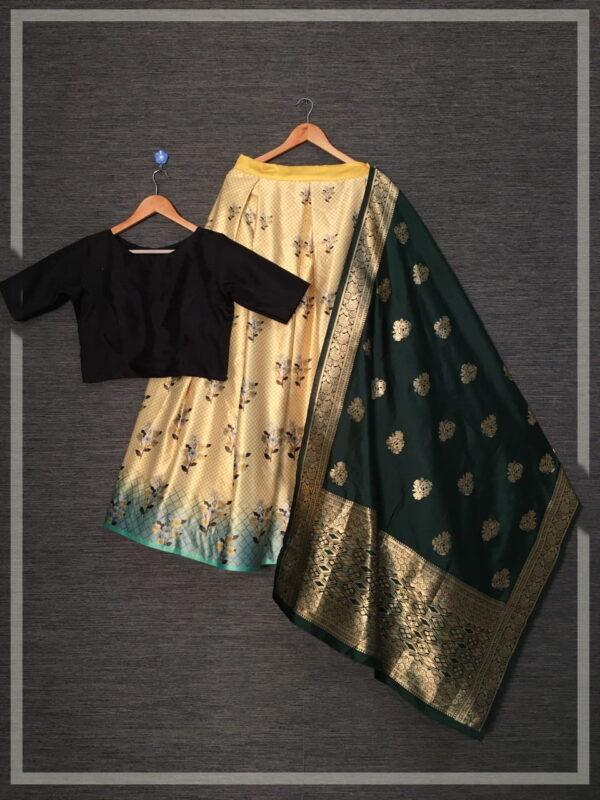 Beautiful Cream Color Wear Zari Printed Satin Silk Ready Made Lehenga Choli