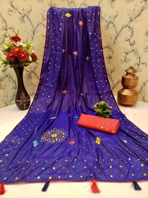 Good-Looking Violet Color Party Wear Soft Silk Hand Made Mirror Button Contrast Piping Work Saree Blouse