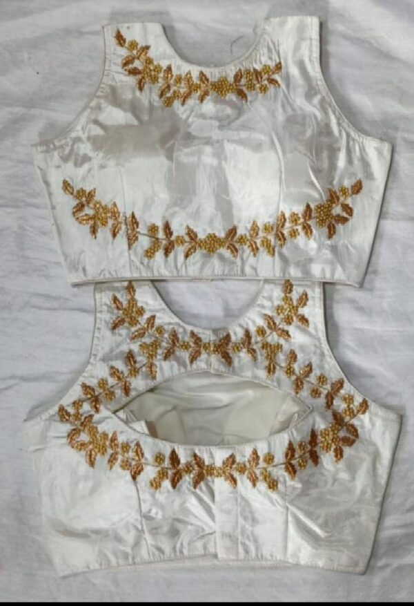 Comely White Color Ready Made Fantam Silk Thread Foil Work Wedding Wear Blouse