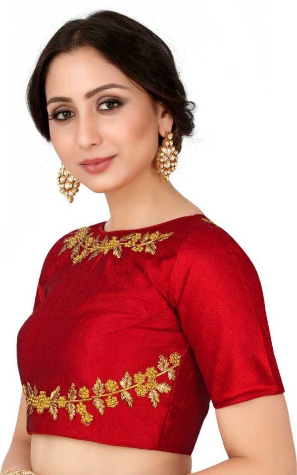 Sensational Red Color Party Wear Ready Made Fantam Silk Foil Thread Work Blouse