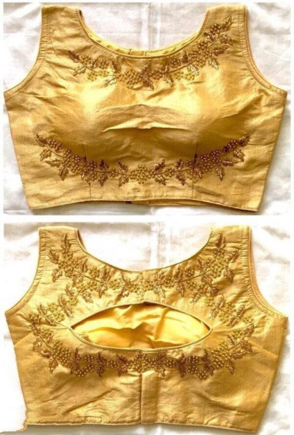 Dazzling Golden Color Designer Foil Thread Work Full Stitched Fantam Silk Wear Blouse
