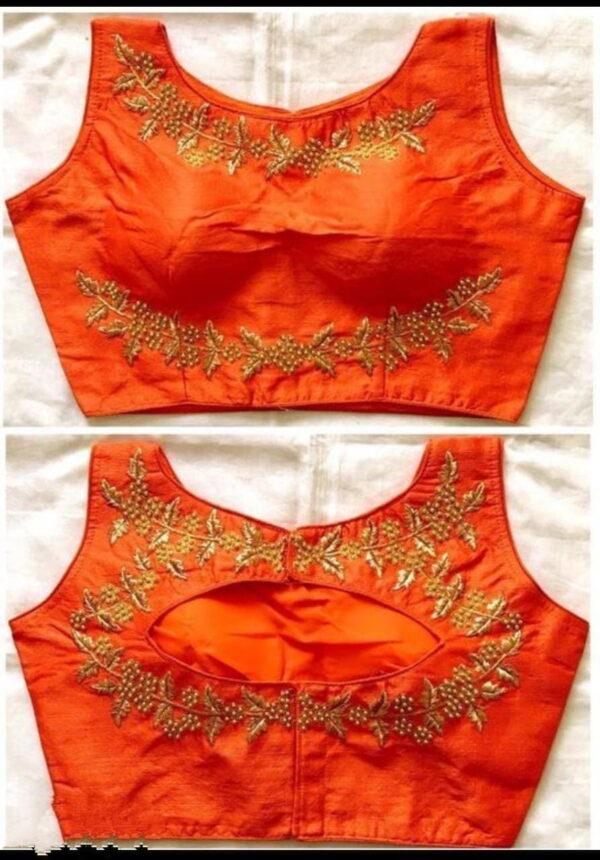 Devastating Orange Color Ready Made Fantam Silk Fancy Thread Foil Work Wedding Wear Blouse