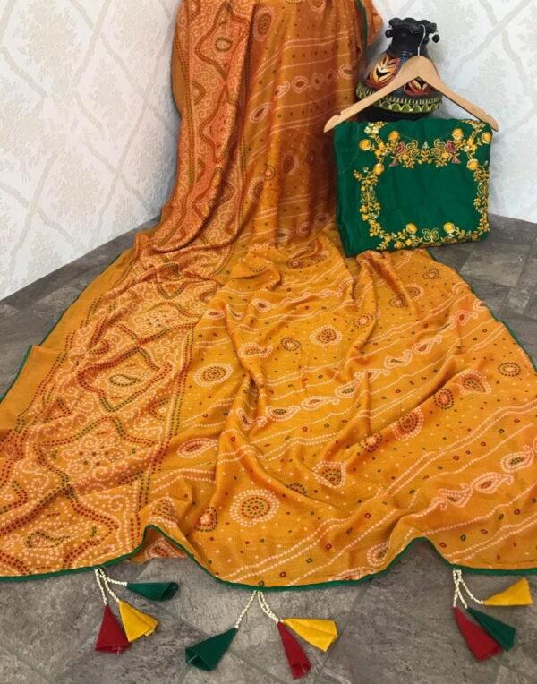 Magnificent Mustard Color Designer Bandhani Printed Fancy Malbari Soft Silk Saree Blouse
