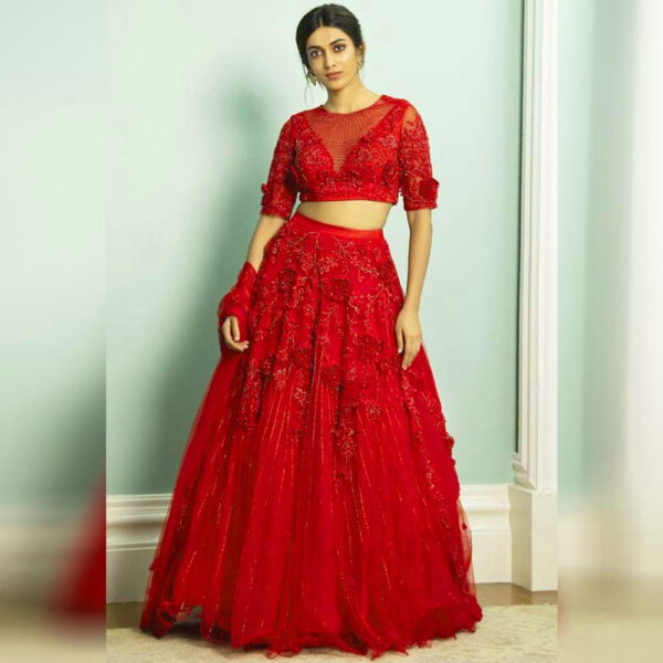 Charming Red Color Designer Net Zari Embroidered Patch Flowers Work Wedding Wear Lehenga Choli