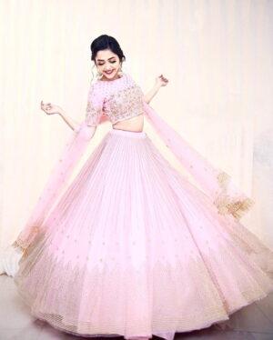 Alluring Baby Pink Color Wedding Wear Net Embroidered Badala Work Lehenga Choli