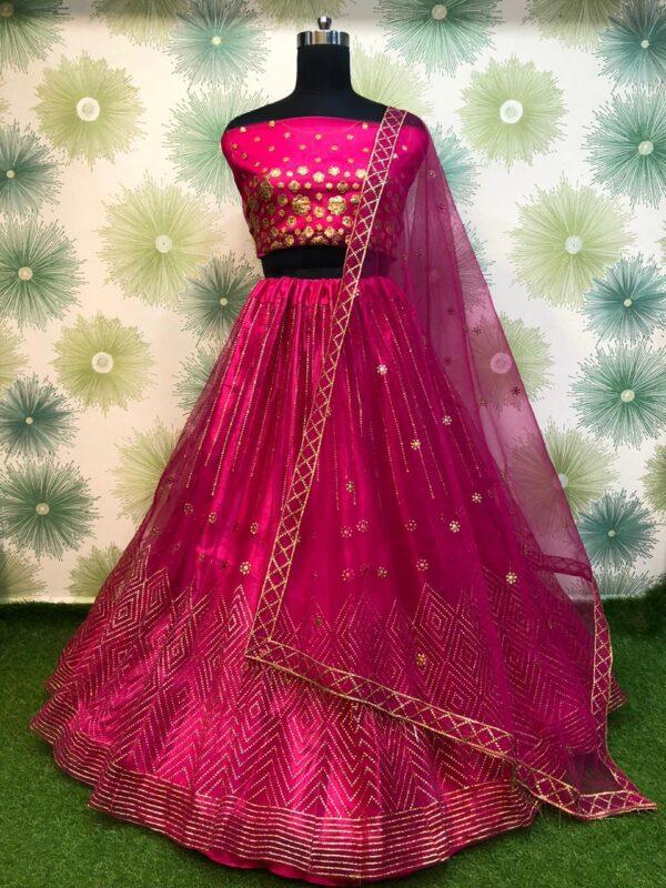 Gorgeous Magenta Color Soft Net Designer Embroidered Badala Work Lehenga Choli