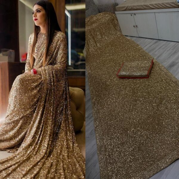 Bootylicious Golden Color Wedding Wear Georgette Fancy Sequence All Over Work Saree Blouse