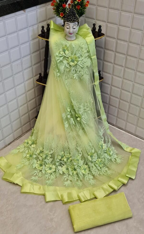 Beautiful Light Green Color Designer Flower Pearl Stone Embroidered Function Wear Soft Net Saree Blouse