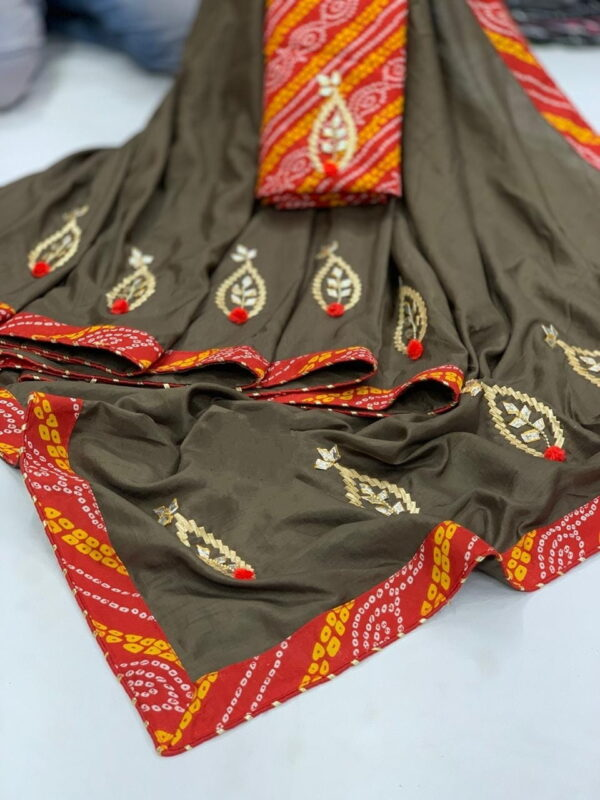 Lovely Grey Color Wear Dola Silk All Over Gotta Patti Butta Designer Bandhani Lace Border Saree Blouse