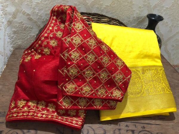 Captivating Maroon Color Designer Soft Nylon Dola Silk Weaving Chit Pallu Saree Ready Made Blouse