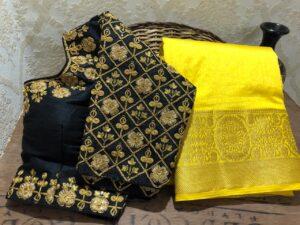 Alluring Black Color Fancy Dola Nylon Silk Chit Weaving Pallu Saree Ready Made Blouse
