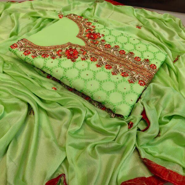 Gorgeous Light Green Color Wear Designer Faux Georgette All Over Neck Diamond Stone Embroidered Daman Lace Border Salwar Kameez