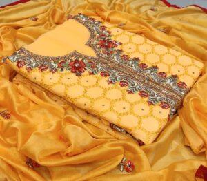 Amazeballs Mustard Color Function Wear Designer Embroidered Stone Diamond All Over Neck Work Daman Lace Faux Georgette Salwar Kameez