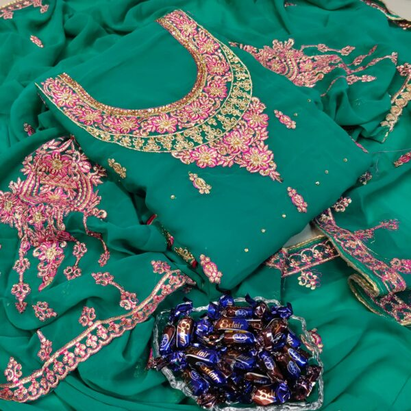 Bootylicious Rama Green Color Embroidered All Over Neck Diamond Stone Work Daman Lace Faux Georgette Wedding Wear Salwar Kameez