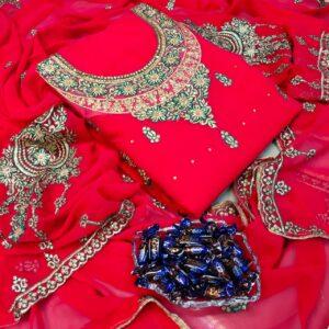 Beauteous Dark Pink Color Designer Faux Georgette Diamond All Over Neck Embroidered Stone Work Daman Lace Salwar Kameez