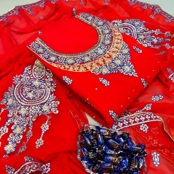 Pulchritudinous Red Color Wear Faux Georgette All Over Neck Embroidered Daman Lace Diamond Stone Work Salwar Kameez