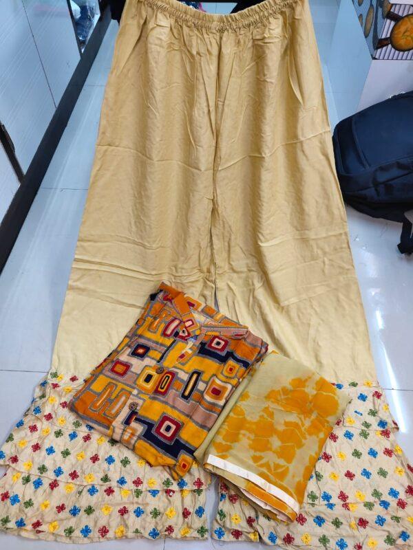 Fantastic Mustard Color Full Stitched Designer Printed Rayon Wooden Button Plazo Salwar Kameez