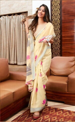 Good-Looking Cream Color Designer Silver Zari Printed Linen Saree Blouse