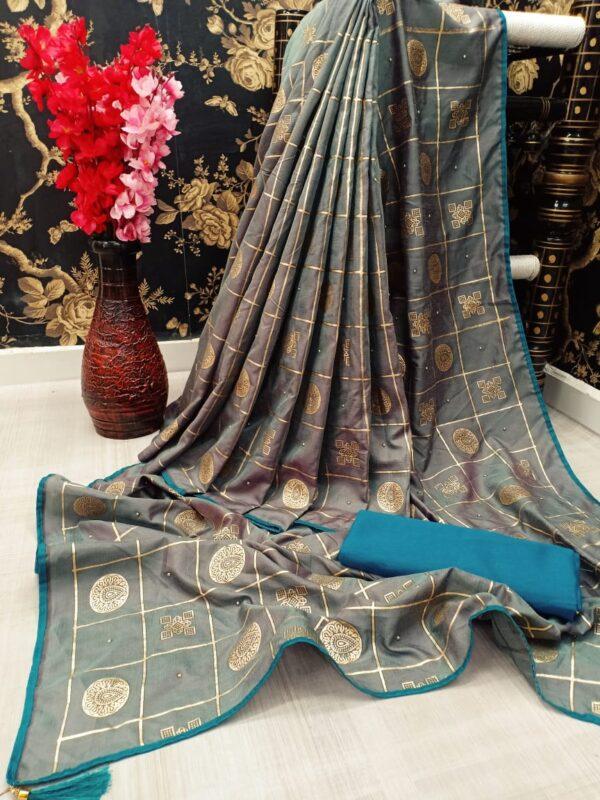 Sensational Grey Color Designer Two Tone Dola Silk All Over Diamond Golden Foil Work Piping Saree Blouse