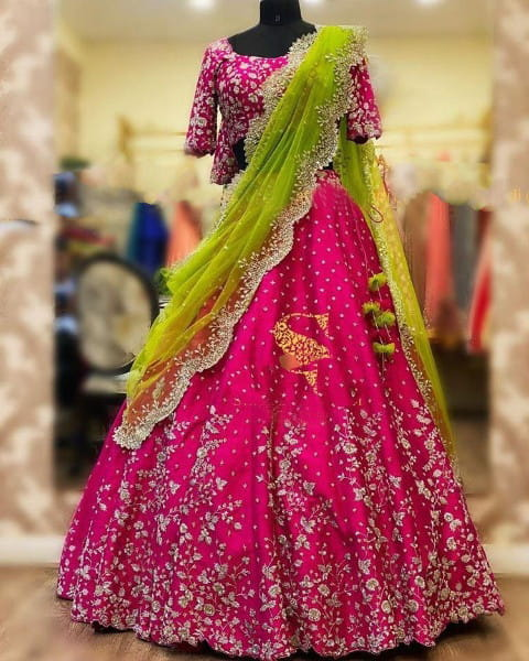 Dazzling Rani Pink Color Designer Tapetta Silk Full Embroidered Lehenga Choli