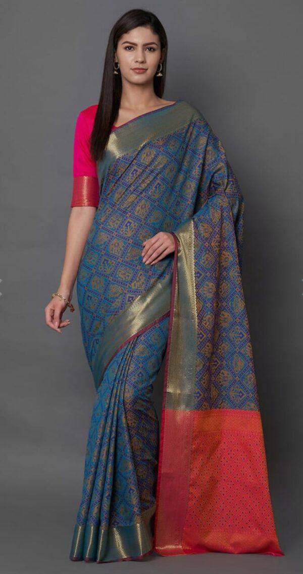 Devastating Navy Blue Color Wedding Wear Fancy Banarasi Silk Patola Zari Contrast Pallu Saree Blouse