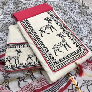 Alluring Rani Pink Color Wear Cotton Printed Salwar Kameez