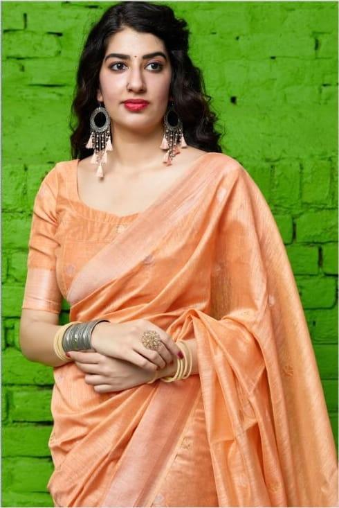 Gorgeous Orange Color Banarasi Silk Designer Cotton Weaving Saree Blouse