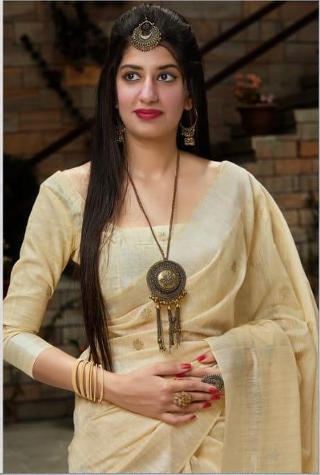 Amazeballs Cream Color Wedding Wear Cotton Weaving Banarasi Silk Saree Blouse