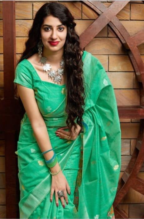 Knockout Sea Green Color Designer Banarasi Silk Cotton Weaving Saree Blouse