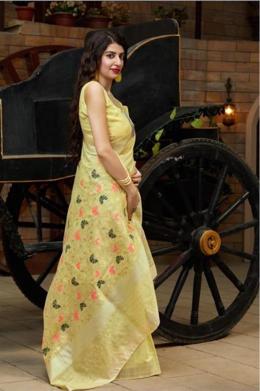 Smashing Yellow Color Wear Banarasi Silk Cotton Weaving Saree Blouse