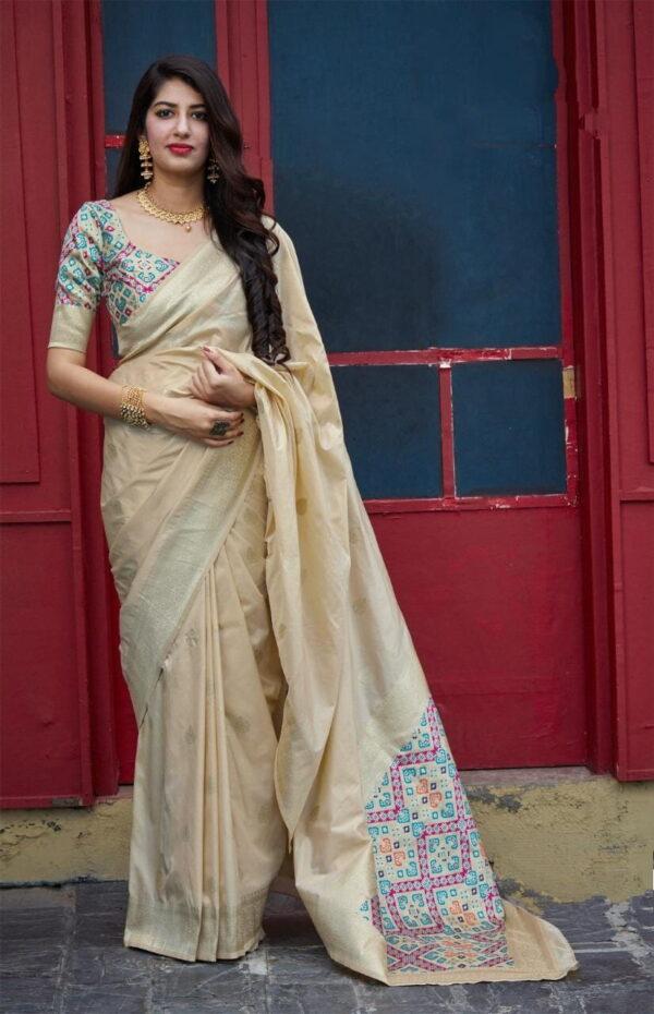 Pulchritudinous Cream Color Party Wear Weaving Designer Patola Banarasi Soft Silk Saree Blouse