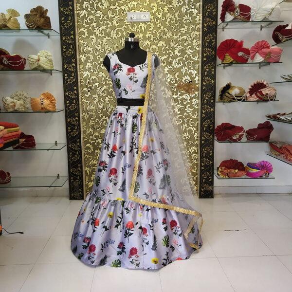 Astonishing Grey Color Wedding Wear Designer Heavy Digital Printed Fancy Taffeta Silk Lehenga Choli