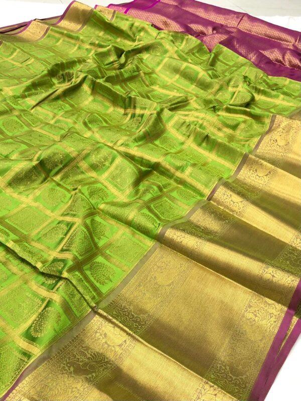 Phenomenal Light Green Color Wear Designer Banarasi Silk Zari Work Saree Blouse