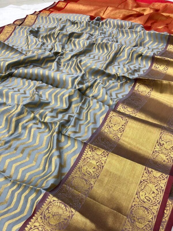 Fabulous Grey Color Function Wear Banarasi Silk Zari Work Fancy Saree Blouse