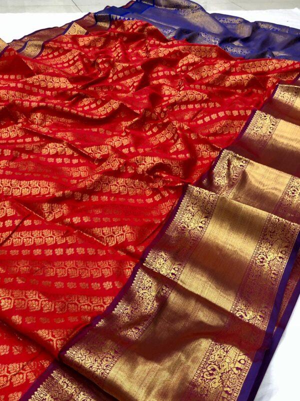 Comely Red Color Zari Work Fancy Silk Banarasi Saree Blouse
