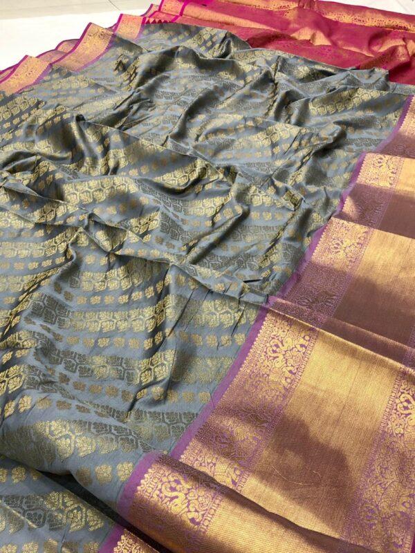 Sensational Party Wear Grey Color Banarasi Silk Designer Zari Work Saree Blouse