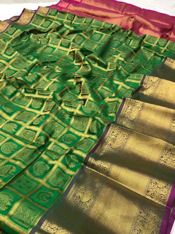 Striking Dark Green Color Zari Work Fancy Silk Banarasi Saree Blouse