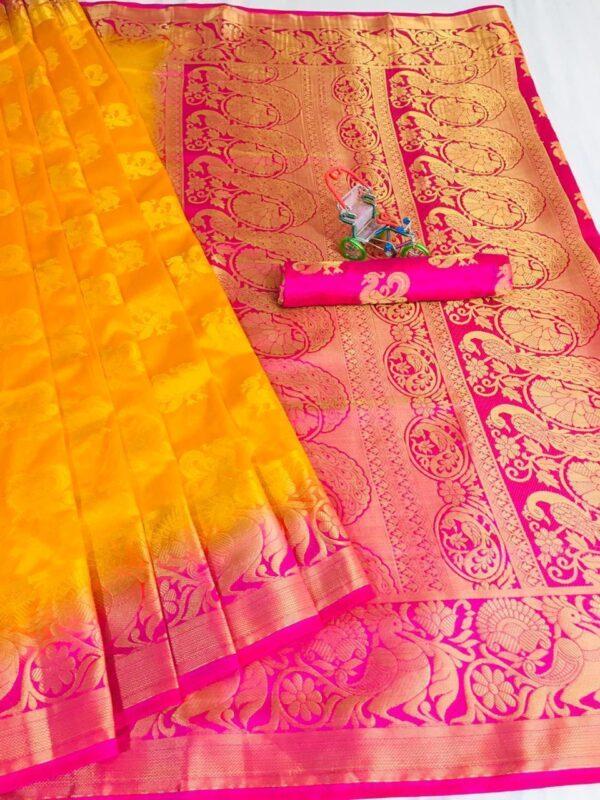Captivating Mustard Color Wedding Wear Nylon Silk Rich Pallu Jacquard Weaving Saree Blouse