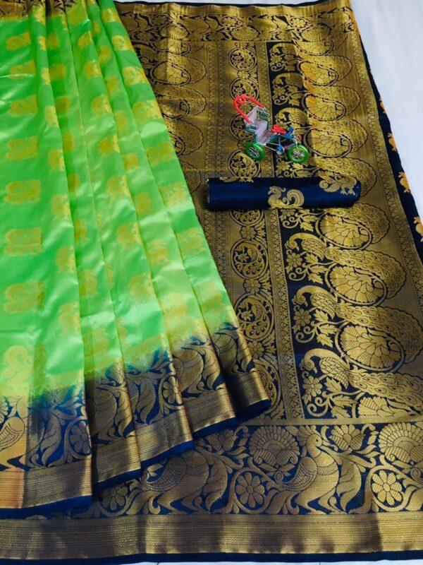 Charming Light Green Color Fancy Silk Nylon Jacquard Weaving Contrast Rich Pallu Saree Blouse